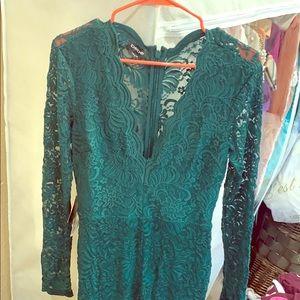 Bebe hunter green lace jumpsuit sz 8